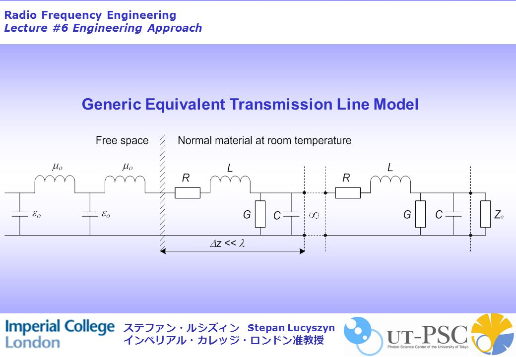 Radio Frequency Engineering Lecture #6 Engineering Approach Stepan Lucyszyn ステファン・ルシズィン インペリアル・カレッジ・ロンドン准教授 Generic Equivalent Transmission Line Model