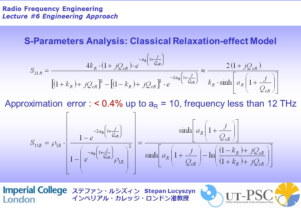 Radio Frequency Engineering Lecture #6 Engineering Approach Stepan Lucyszyn ステファン・ルシズィン インペリアル・カレッジ・ロンドン准教授 Approximation error : < 0.4% up to a R = 1