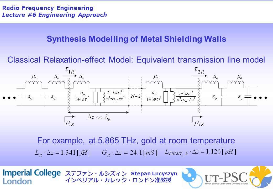 Radio Frequency Engineering Lecture #6 Engineering Approach Stepan Lucyszyn ステファン・ルシズィン インペリアル・カレッジ・ロンドン准教授 Synthesis Modelling of Metal Shielding Wal