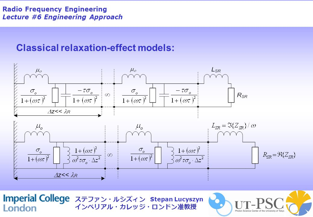 Radio Frequency Engineering Lecture #6 Engineering Approach Stepan Lucyszyn ステファン・ルシズィン インペリアル・カレッジ・ロンドン准教授 Distributed-element parameters for the classical relaxation-effect model Distributive shunt inductance