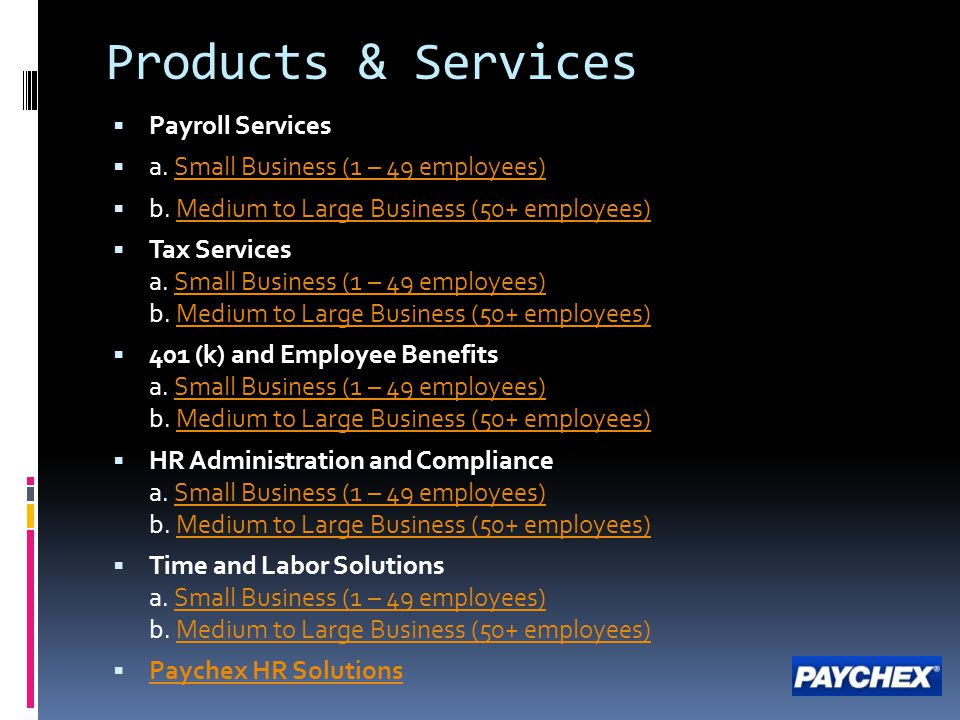 Products & Services  Payroll Services  a.