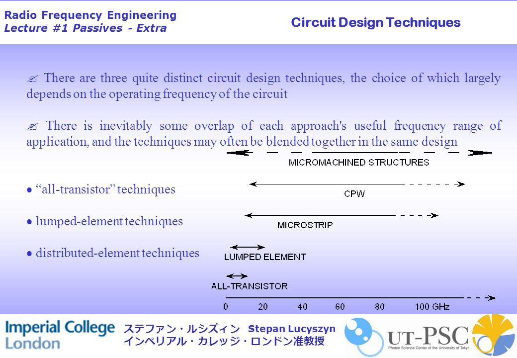 Radio Frequency Engineering Lecture #1 Passives - Extra Stepan Lucyszyn ステファン・ルシズィン インペリアル・カレッジ・ロンドン准教授  There are three quite distinct circuit design techniques, the choice of which largely depends on the operating frequency of the circuit  There is inevitably some overlap of each approach s useful frequency range of application, and the techniques may often be blended together in the same design  all-transistor techniques  lumped-element techniques  distributed-element techniques Circuit Design Techniques