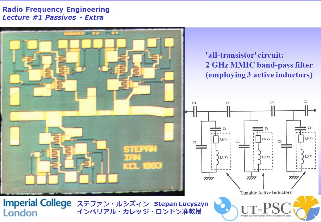 Radio Frequency Engineering Lecture #1 Passives - Extra Stepan Lucyszyn ステファン・ルシズィン インペリアル・カレッジ・ロンドン准教授 all-transistor circuit: 2 GHz MMIC band-pass filter (employing 3 active inductors)