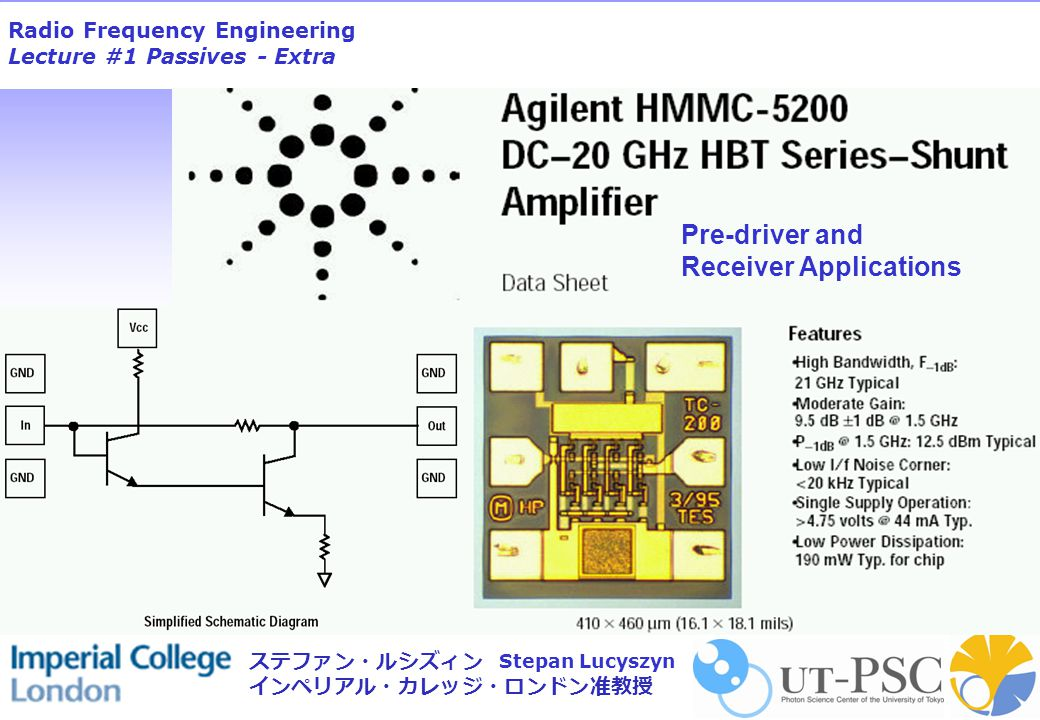 Radio Frequency Engineering Lecture #1 Passives - Extra Stepan Lucyszyn ステファン・ルシズィン インペリアル・カレッジ・ロンドン准教授 Pre-driver and Receiver Applications