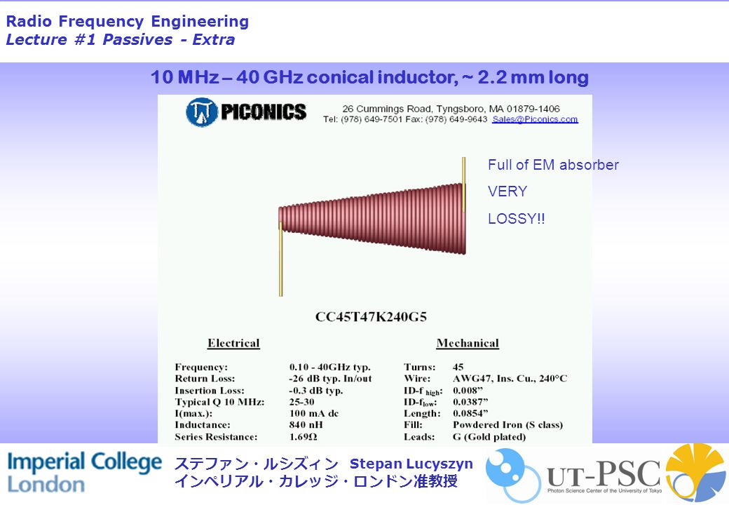 Radio Frequency Engineering Lecture #1 Passives - Extra Stepan Lucyszyn ステファン・ルシズィン インペリアル・カレッジ・ロンドン准教授 RF Capacitors 4p7 Ceramic Polystyrene Polyester Trimmer Surface mount Single layer chip