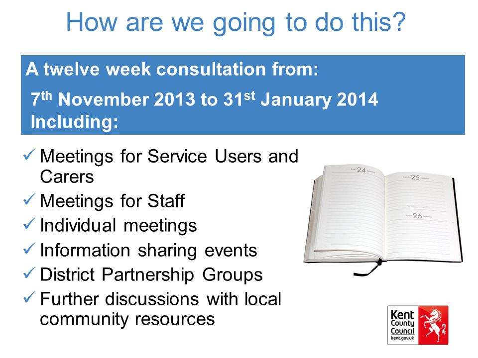 How are we going to do this? Meetings for Service Users and Carers Meetings for Staff Individual meetings Information sharing events District Partners