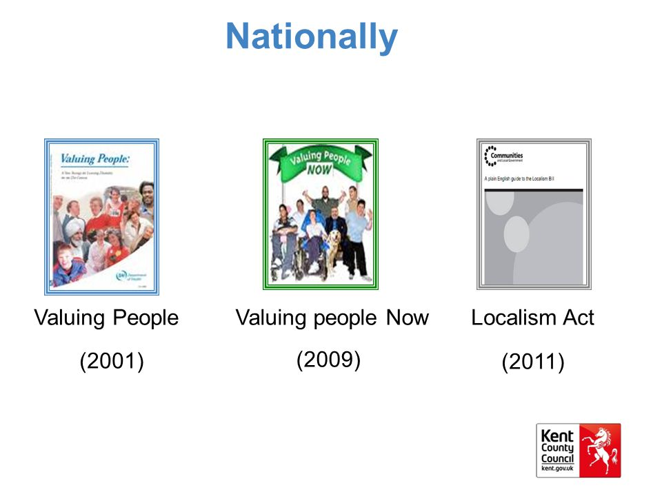 Nationally Valuing people Now (2009) Valuing People (2001) Localism Act (2011)
