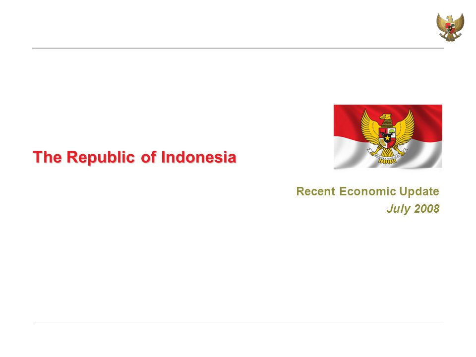 The Republic of Indonesia Recent Economic Update July 2008