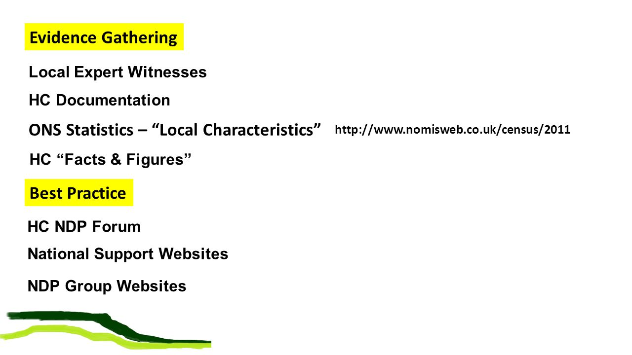 """Local Expert Witnesses HC Documentation Evidence Gathering http://www.nomisweb.co.uk/census/2011 ONS Statistics – """"Local Characteristics"""" National Sup"""