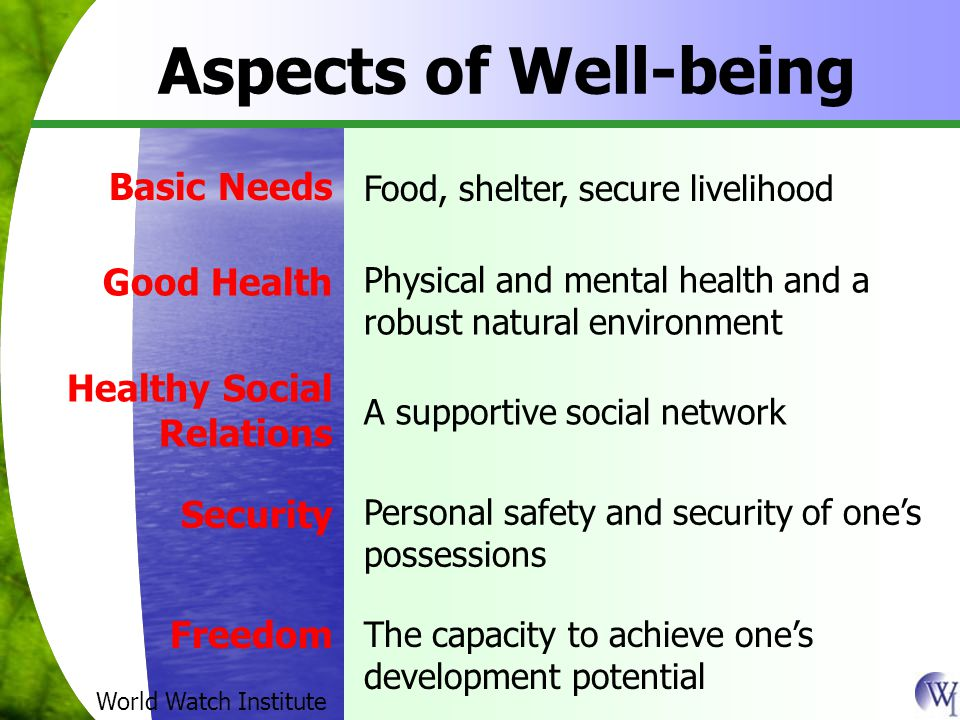 Aspects of Well-being Basic Needs Food, shelter, secure livelihood Good Health Physical and mental health and a robust natural environment Healthy Social Relations A supportive social network Security Personal safety and security of one's possessions Freedom The capacity to achieve one's development potential World Watch Institute