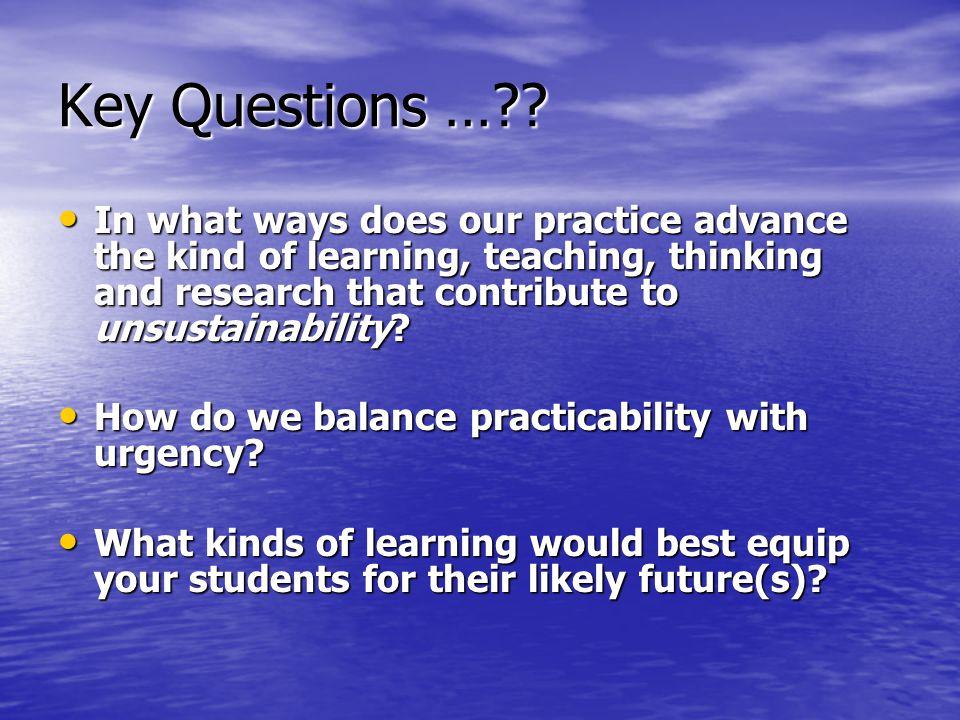 Key Questions … .