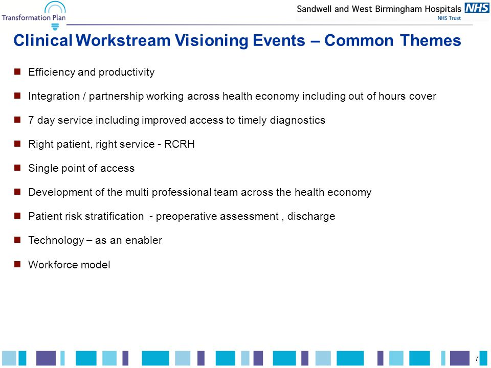 A.T. Kearney xx/mm.yyyy/00000 7 Clinical Workstream Visioning Events – Common Themes Efficiency and productivity Integration / partnership working acr