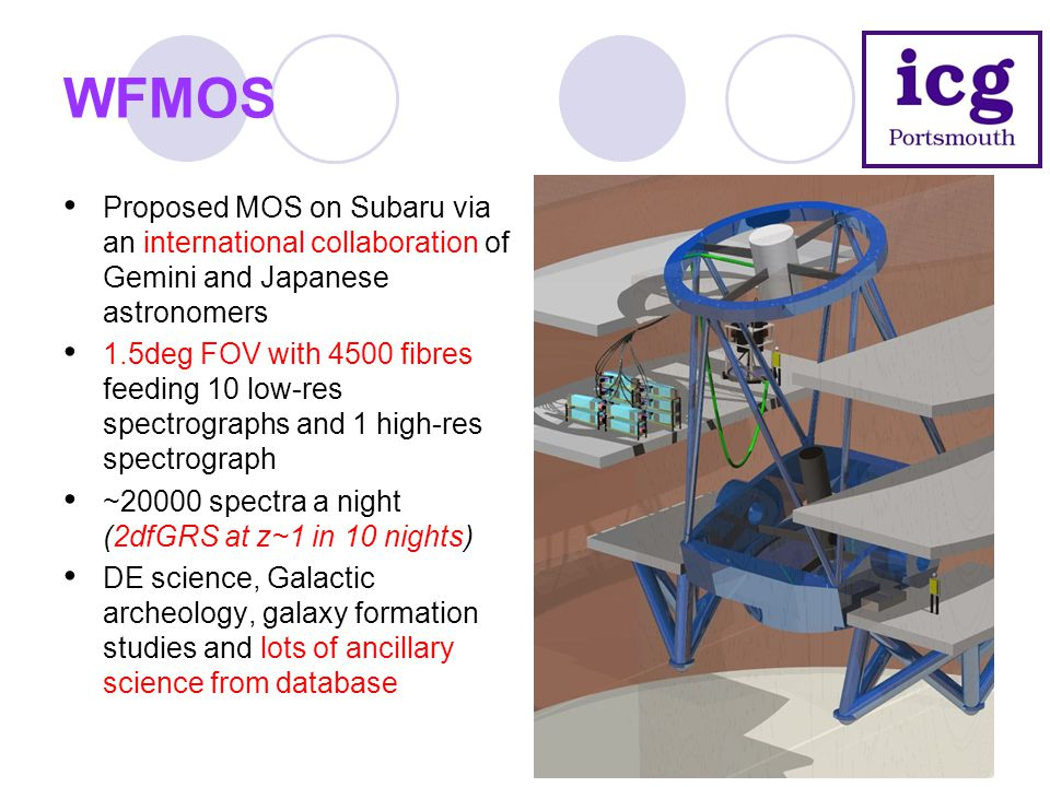 WFMOS Proposed MOS on Subaru via an international collaboration of Gemini and Japanese astronomers 1.5deg FOV with 4500 fibres feeding 10 low-res spec