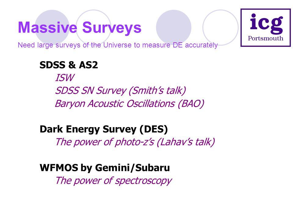 Massive Surveys Need large surveys of the Universe to measure DE accurately SDSS & AS2 ISW SDSS SN Survey (Smith's talk) Baryon Acoustic Oscillations (BAO) Dark Energy Survey (DES) The power of photo-z's (Lahav's talk) WFMOS by Gemini/Subaru The power of spectroscopy