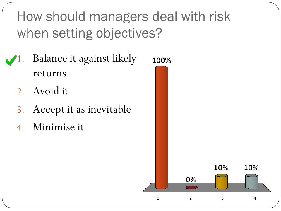 How should managers deal with risk when setting objectives.