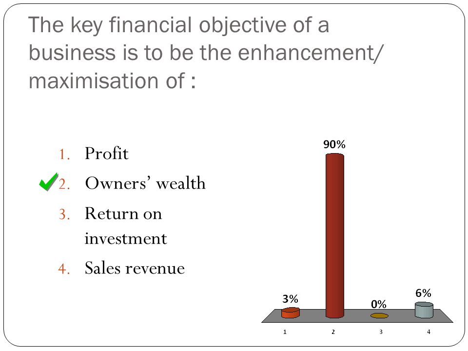 The key financial objective of a business is to be the enhancement/ maximisation of : 1.