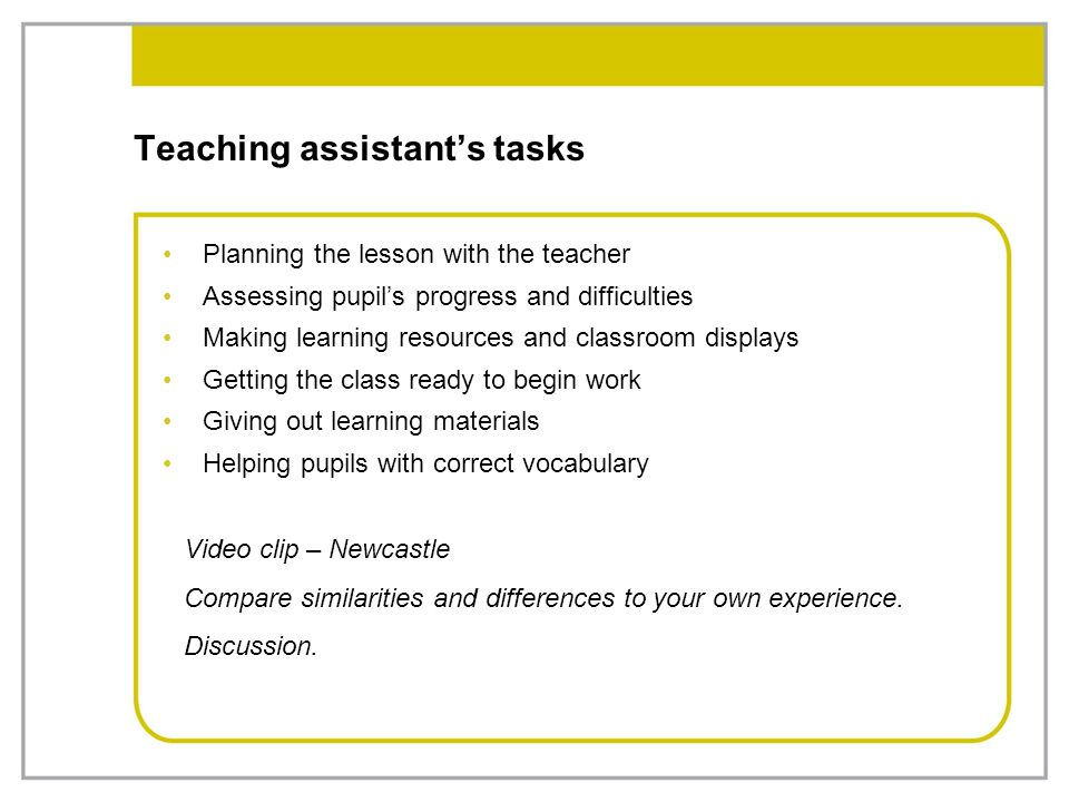 Teaching assistant's tasks Planning the lesson with the teacher Assessing pupil's progress and difficulties Making learning resources and classroom di