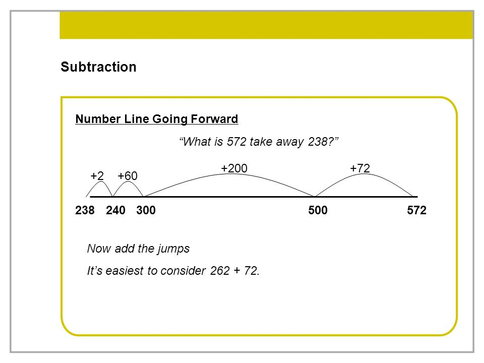 """Subtraction Number Line Going Forward """"What is 572 take away 238?"""" 572500300240238 +2+60 +200+72 Now add the jumps It's easiest to consider 262 + 72."""
