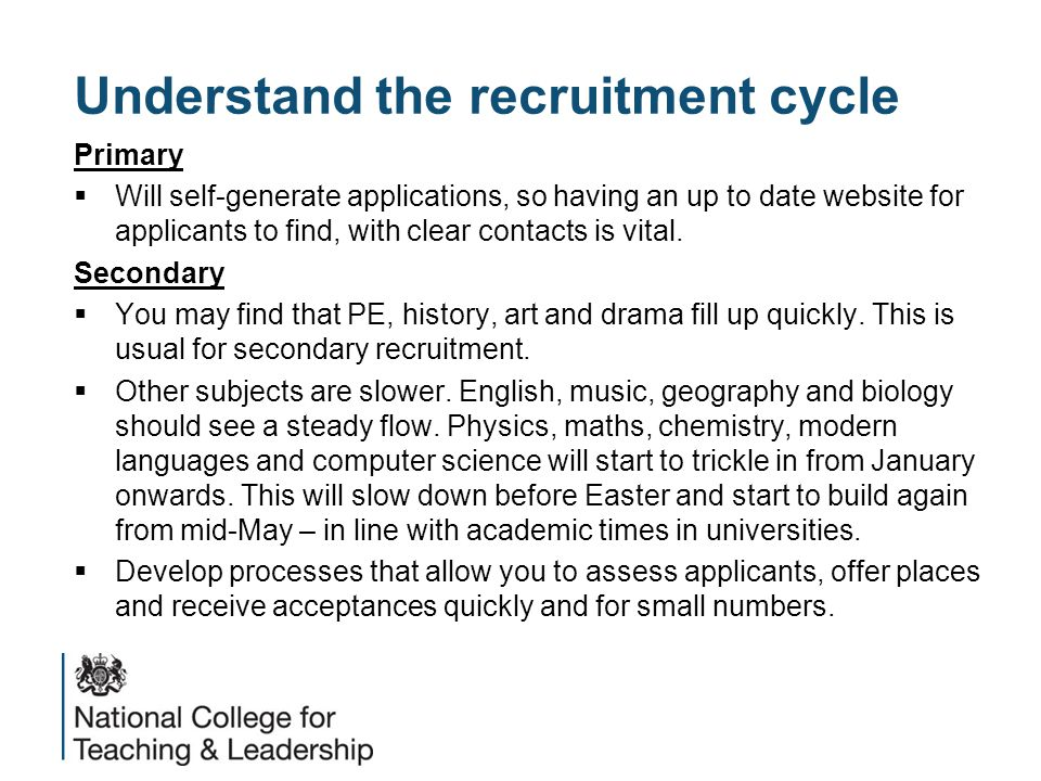 Understand the recruitment cycle Primary  Will self-generate applications, so having an up to date website for applicants to find, with clear contacts is vital.