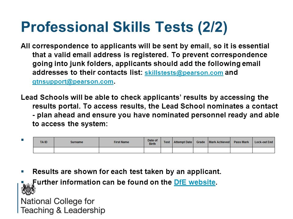 Professional Skills Tests (2/2) All correspondence to applicants will be sent by  , so it is essential that a valid  address is registered.