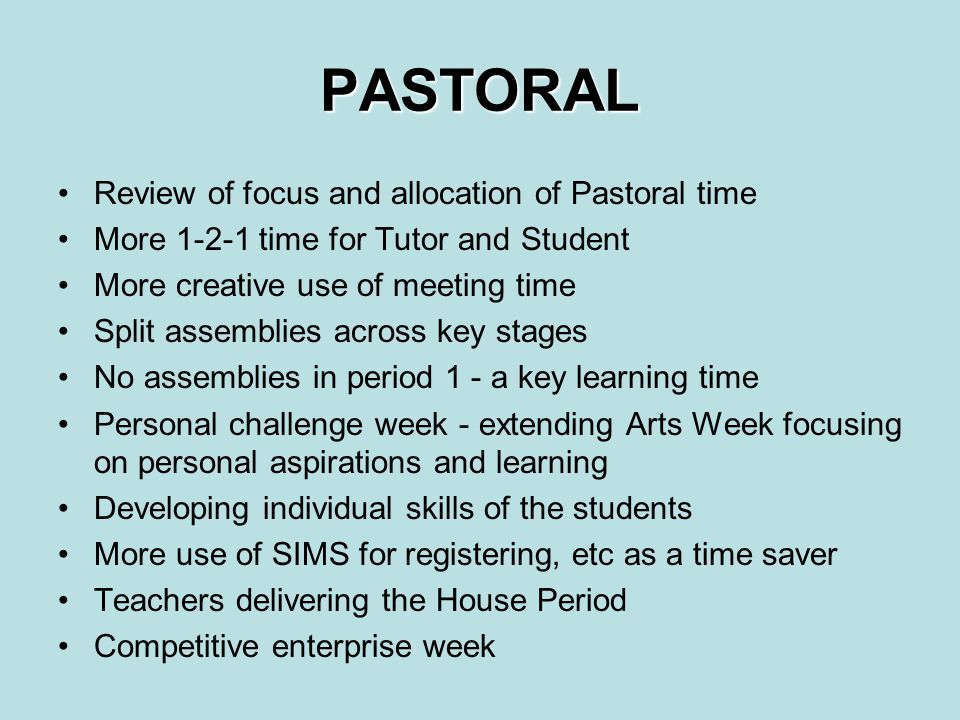 PASTORAL Review of focus and allocation of Pastoral time More 1-2-1 time for Tutor and Student More creative use of meeting time Split assemblies across key stages No assemblies in period 1 - a key learning time Personal challenge week - extending Arts Week focusing on personal aspirations and learning Developing individual skills of the students More use of SIMS for registering, etc as a time saver Teachers delivering the House Period Competitive enterprise week