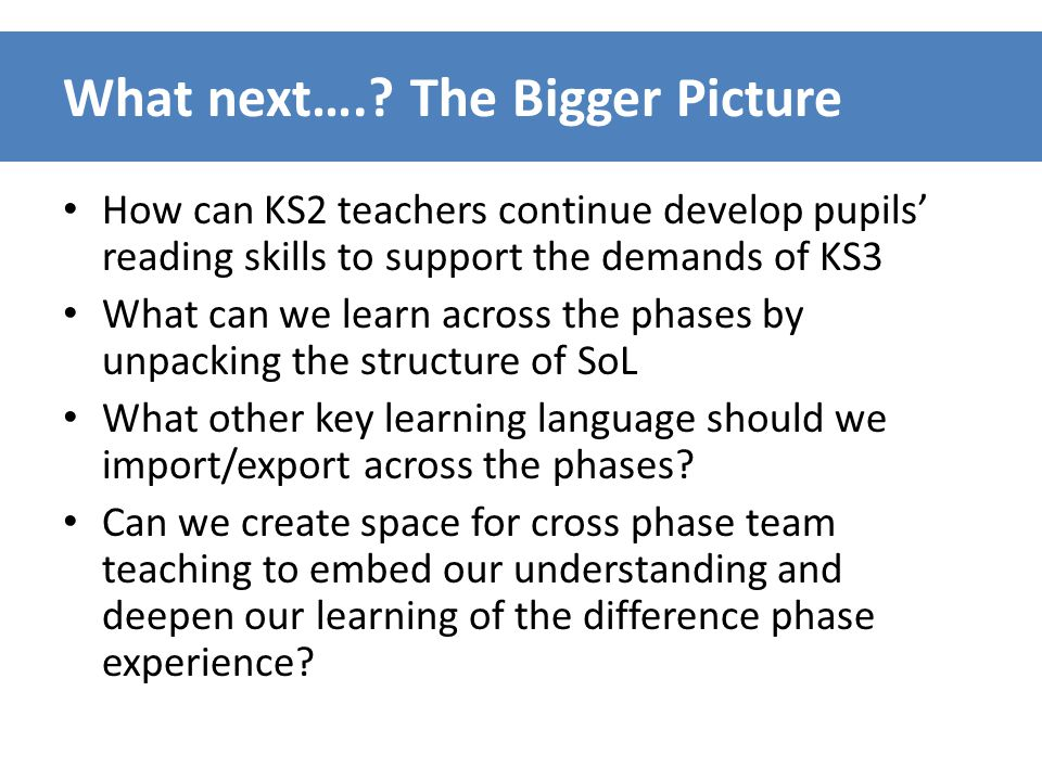 What next….? The Bigger Picture How can KS2 teachers continue develop pupils' reading skills to support the demands of KS3 What can we learn across th