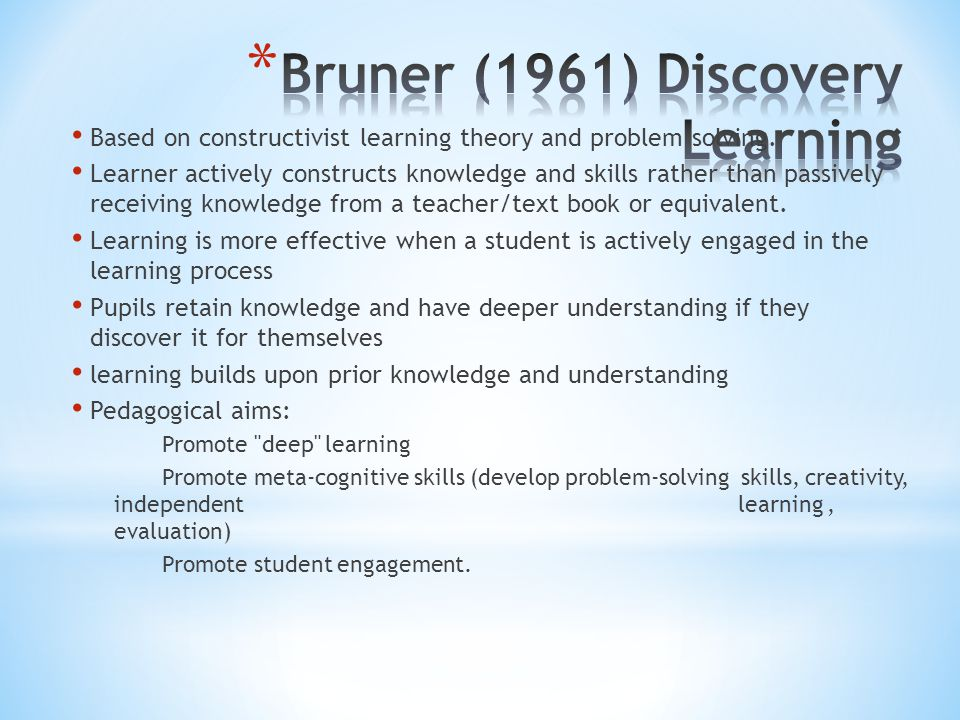Based on constructivist learning theory and problem solving. Learner actively constructs knowledge and skills rather than passively receiving knowledg