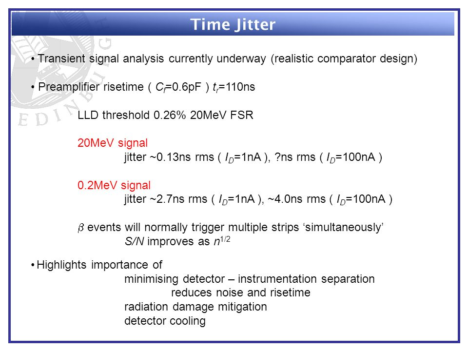 Time Jitter Transient signal analysis currently underway (realistic comparator design) Preamplifier risetime ( C f =0.6pF ) t r =110ns LLD threshold 0.26% 20MeV FSR 20MeV signal jitter ~0.13ns rms ( I D =1nA ), ns rms ( I D =100nA ) 0.2MeV signal jitter ~2.7ns rms ( I D =1nA ), ~4.0ns rms ( I D =100nA )  events will normally trigger multiple strips 'simultaneously' S/N improves as n 1/2 Highlights importance of minimising detector – instrumentation separation reduces noise and risetime radiation damage mitigation detector cooling
