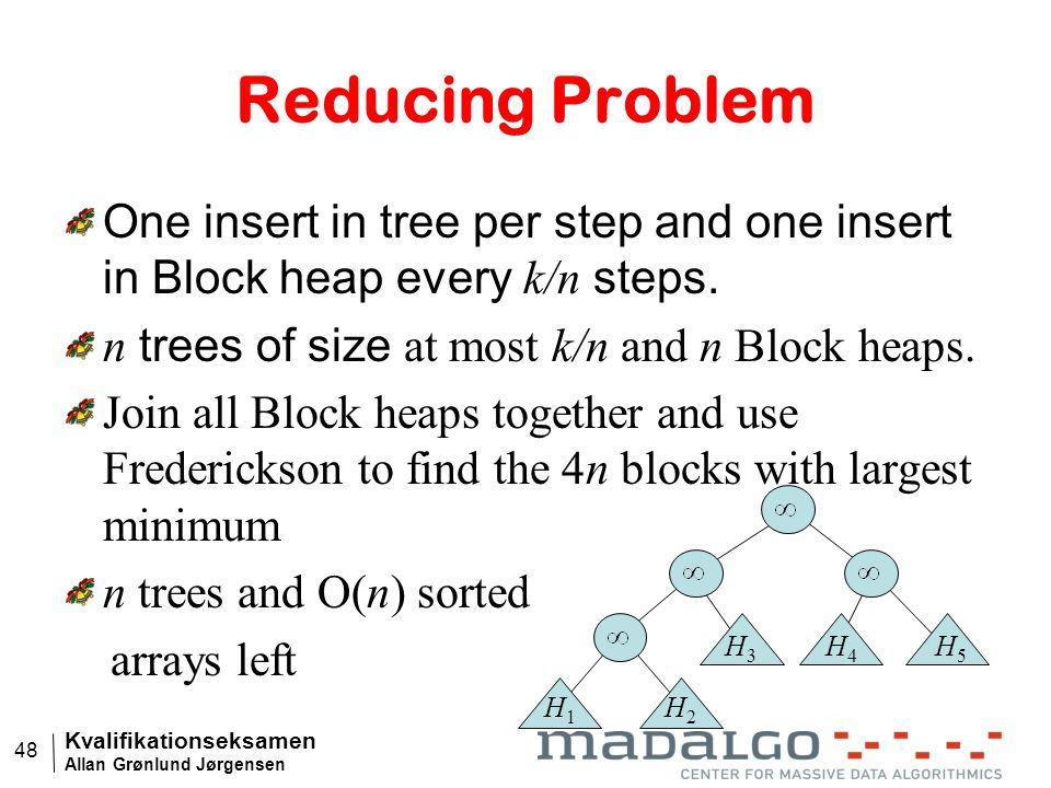 Kvalifikationseksamen Allan Grønlund Jørgensen 48 Reducing Problem One insert in tree per step and one insert in Block heap every k/n steps.