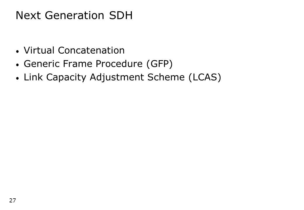 26 Data and SDH C-3 ( 49.5 Mbit/s) C-3 C-4 ( 149 Mbit/s) C-4-4c ( 599 Mbit/s) C-4-4c C-4-16c ( 2.4 Gbit/s) C-4-16c SDH 20% 50% 67% 33% 67% 33% 42% C-4-64c100% Ethernet ATM ESCON Fibre Channel Fast Ethernet Gigabit Ethernet Data 10 Mbit/s 25 Mbit/s 200 Mbit/s 400 Mbit/s 800 Mbit/s 100 Mbit/s 1 Gbit/s 10 Gb Ethernet10 Gbit/s Efficiency Transport efficiency Solution: Virtual Concatenation