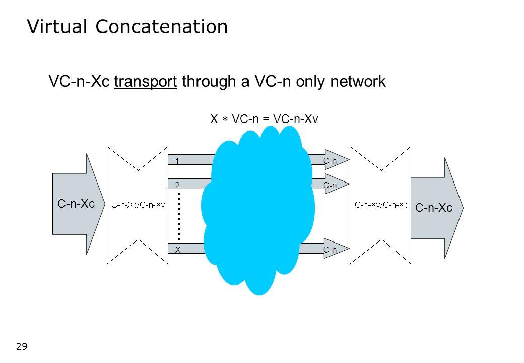 28 LSP 1 LSP 2 LSP 1 VCX/ VCG VC-n 1 VC-n 2 STM-N Virtuel multiplexing of a block of VC-n s (VCG) VC-n 1 VC-n 2 VCX/ VCG LSP 1 LSP 2 LSP 1