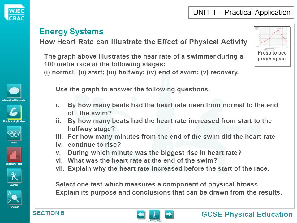 Information/Discussion Practical Application Links Diagram/Table Activity Revision GCSE Physical Education Energy Systems MAIN MENU SECTION B How Hear