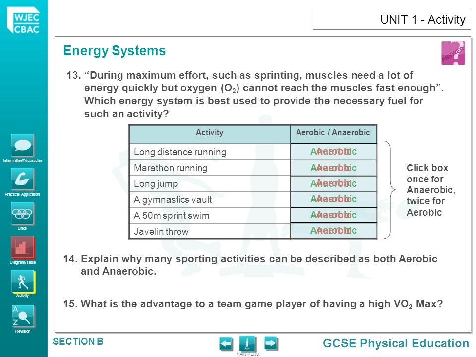 Information/Discussion Practical Application Links Diagram/Table Activity Revision GCSE Physical Education Energy Systems MAIN MENU SECTION B UNIT 1 -