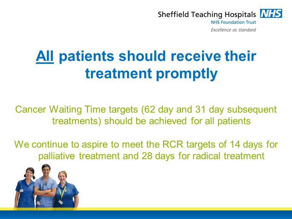 All patients should receive their treatment promptly Cancer Waiting Time targets (62 day and 31 day subsequent treatments) should be achieved for all patients We continue to aspire to meet the RCR targets of 14 days for palliative treatment and 28 days for radical treatment