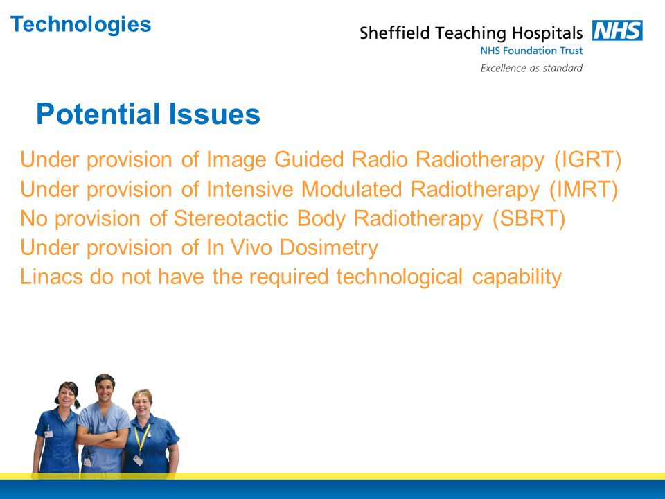 Under provision of Image Guided Radio Radiotherapy (IGRT) Under provision of Intensive Modulated Radiotherapy (IMRT) No provision of Stereotactic Body Radiotherapy (SBRT) Under provision of In Vivo Dosimetry Linacs do not have the required technological capability Potential Issues Technologies