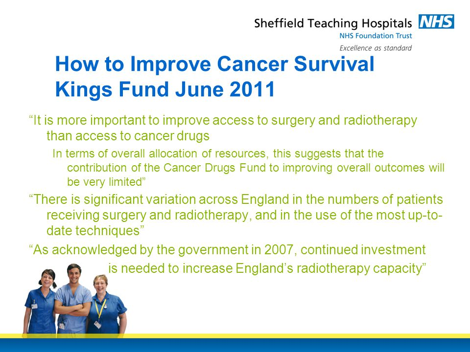 How to Improve Cancer Survival Kings Fund June 2011 It is more important to improve access to surgery and radiotherapy than access to cancer drugs In terms of overall allocation of resources, this suggests that the contribution of the Cancer Drugs Fund to improving overall outcomes will be very limited There is significant variation across England in the numbers of patients receiving surgery and radiotherapy, and in the use of the most up-to- date techniques As acknowledged by the government in 2007, continued investment is needed to increase England's radiotherapy capacity