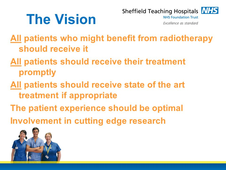 The Vision All patients who might benefit from radiotherapy should receive it All patients should receive their treatment promptly All patients should receive state of the art treatment if appropriate The patient experience should be optimal Involvement in cutting edge research