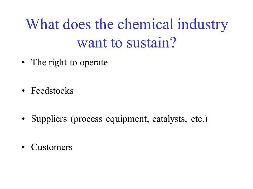 What does the chemical industry want to sustain.