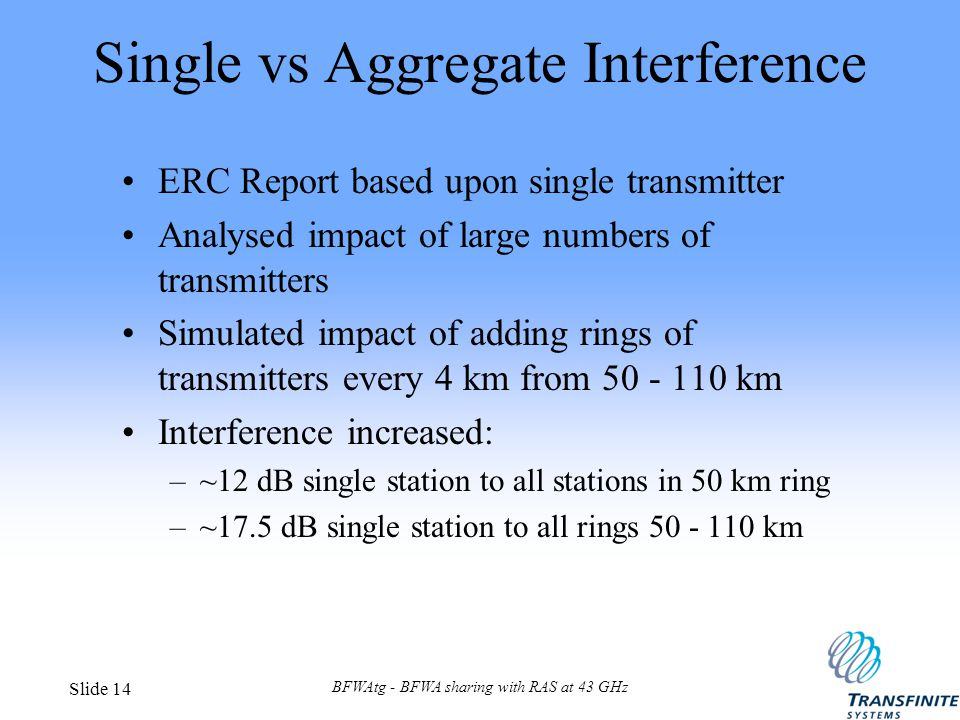 BFWAtg - BFWA sharing with RAS at 43 GHz Slide 14 Single vs Aggregate Interference ERC Report based upon single transmitter Analysed impact of large n