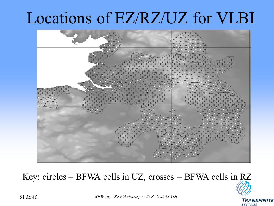 BFWAtg - BFWA sharing with RAS at 43 GHz Slide 40 Locations of EZ/RZ/UZ for VLBI Key: circles = BFWA cells in UZ, crosses = BFWA cells in RZ