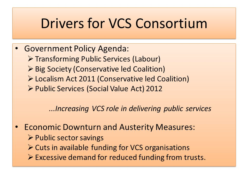 Public Sector Commissioning Tower Hamlets Perspective VCS Strategy objectives include:  VCS resilience and sustainability  Strategic commissioning and co-production.
