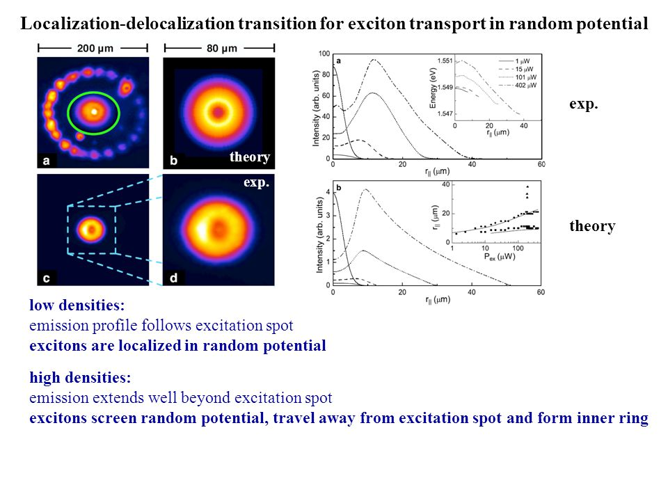 Localization-delocalization transition for exciton transport in random potential exp. theory exp. theory low densities: emission profile follows excit