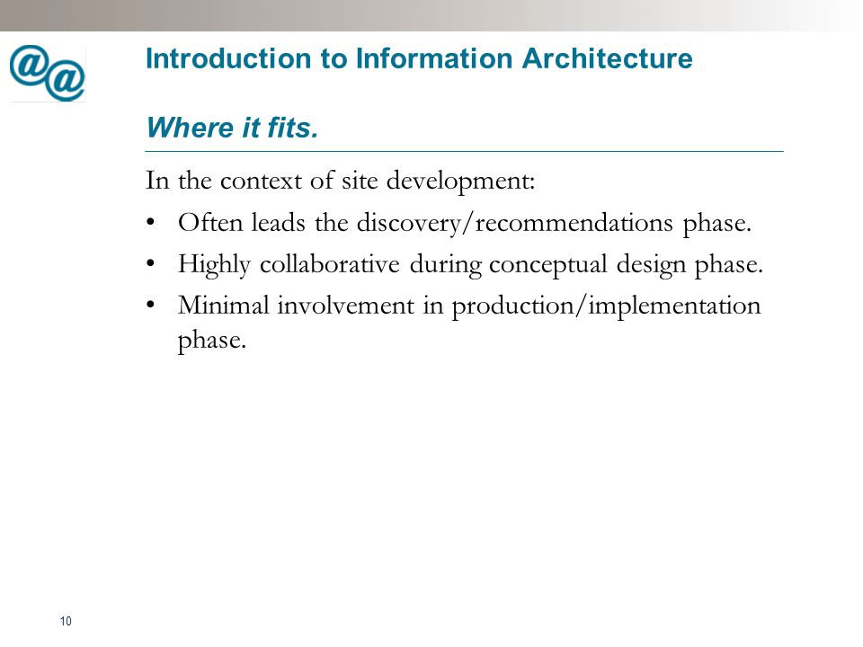 11 Introduction to Information Architecture What the deliverables are.