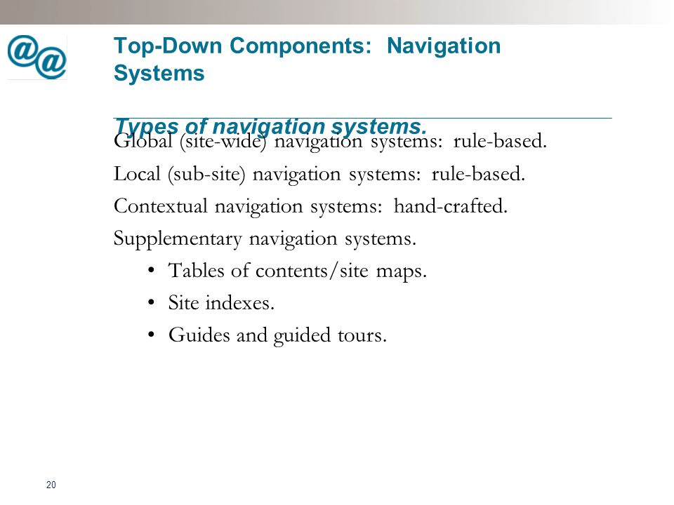 21 Top-Down Components: Navigation Systems What makes a navigation system succeed.