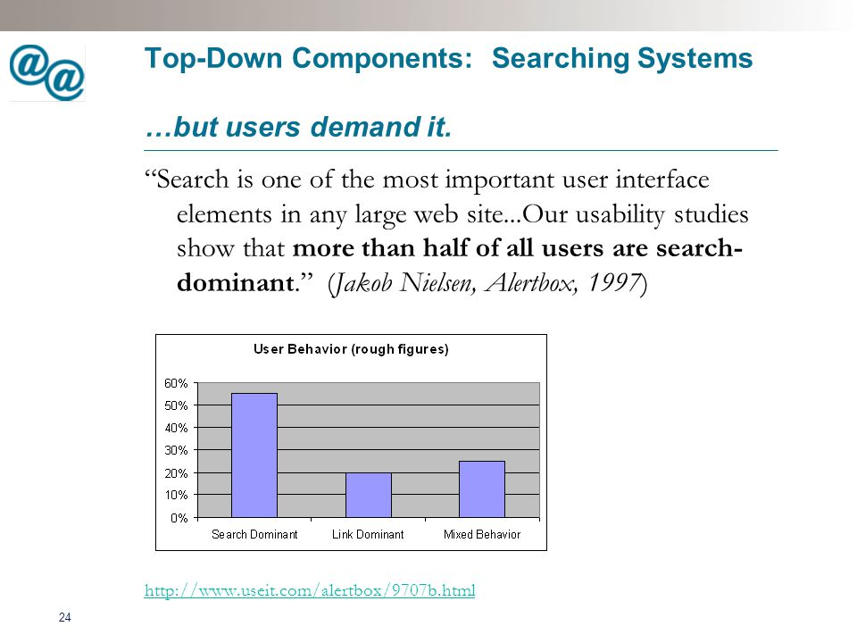 25 Query Top-Down Components: Searching Systems Finding involves more than searching...