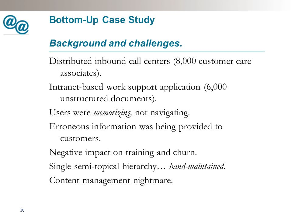 39 Bottom-Up Case Study Solutions.Structured content model.