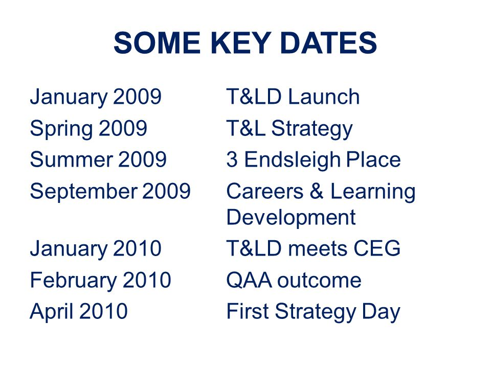 SOME KEY DATES January 2009T&LD Launch Spring 2009T&L Strategy Summer 20093 Endsleigh Place September 2009Careers & Learning Development January 2010T&LD meets CEG February 2010QAA outcome April 2010First Strategy Day