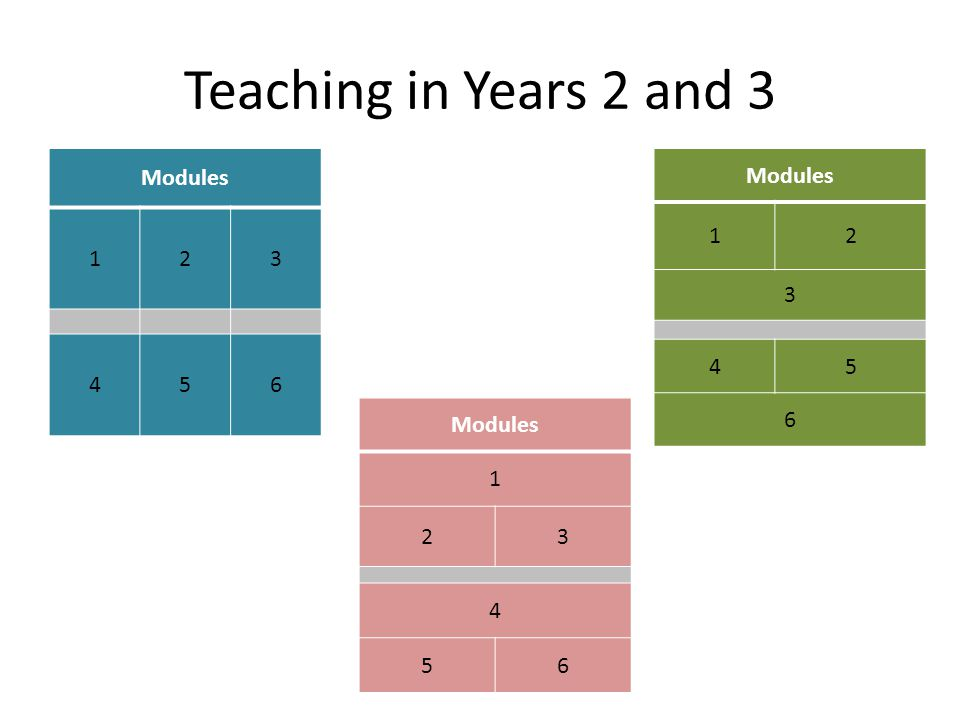 Teaching in Years 2 and 3 Modules 123 456 1 23 4 56 12 3 45 6