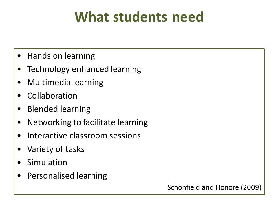 What students need Hands on learning Technology enhanced learning Multimedia learning Collaboration Blended learning Networking to facilitate learning Interactive classroom sessions Variety of tasks Simulation Personalised learning Schonfield and Honore (2009)