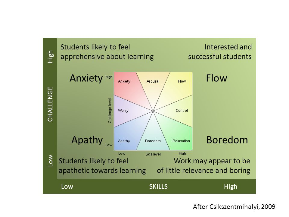 Students likely to feel Interested and apprehensive about learning successful students Anxiety Flow Apathy Boredom Students likely to feel Work may appear to be apathetic towards learning of little relevance and boring Low CHALLENGE High Low SKILLS High After Csikszentmihalyi, 2009